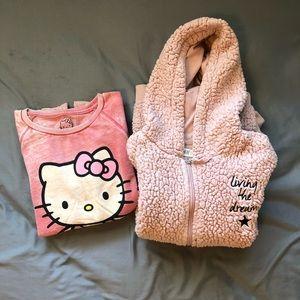 Girls Hello Kitty Sweatshirt + H&M Fleece Hoodie